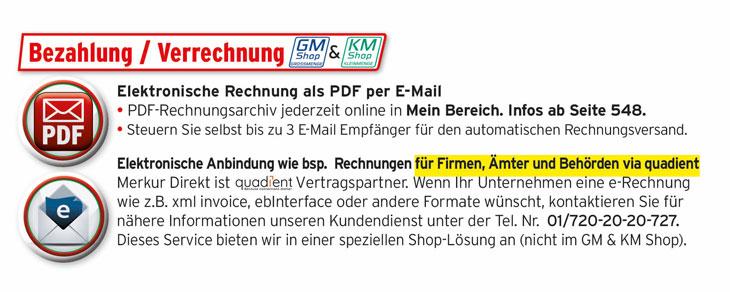 Bezahlung / Verrechnung über Elektronische Rechnung als PDF per Mail/ Für Firmen, Ämter udn behörden E-Rechnung über Neopost