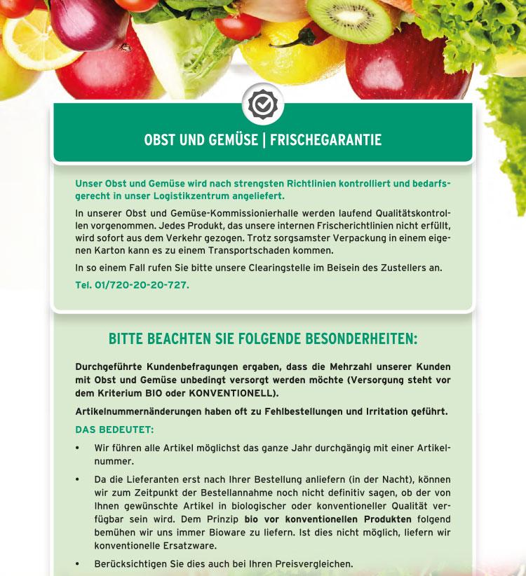 Obst und Gemüse - Frischegarantie