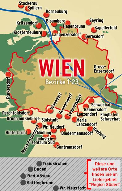Liefergebiet Wien und Umgebung